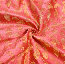Pink Golden Musical-Instrumen Brocade Silk Fabric-12279