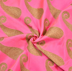 Pink Golden Paisley Brocade Silk Fabric-12180