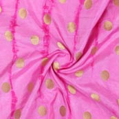 Pink Golden Polka Banarasi Silk Fabric-9329