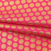 Pink Golden Polka Jacquard Brocade Silk Fabric-9161