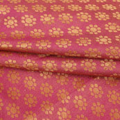 Pink Golden Polka Jacquard Brocade Silk Fabric-9177