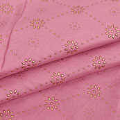 Pink Golden Polka Jam Cotton Fabric-15153