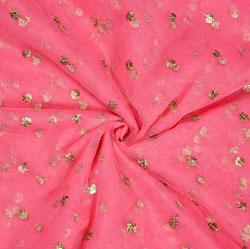 Pink Golden Polka Net Fabric-18907