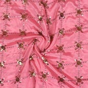 Pink Golden Sequin Chinnon Embroidery Fabric-29278
