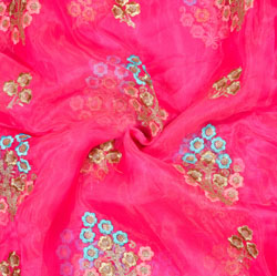 Pink Golden Tree Organza Embroidery Fabric-22192