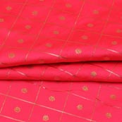 Pink Golden Zari Checks Dot Brocade Silk Fabric-9246