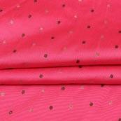 Pink Golden Zari Dot Brocade Silk Fabric-9257