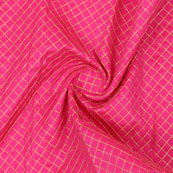 Pink Golden Zari Silk Fabric-9077