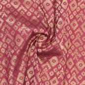 Pink Golden Zig Zag Jacquard Brocade Silk Fabric-9115
