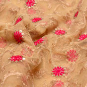 Pink-Golden and Beige Polka Pattern embroidery net fabric-5234