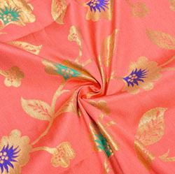 Pink Golden and Cyan Floral Brocade Silk Fabric-12334