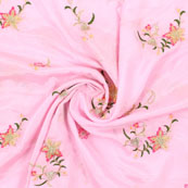 Pink Golden and Green Flower Embroidery Chinon Fabric-35004