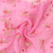 Pink Golden and Magenta pink Organza Silk Fabric-51603