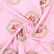 Pink Golden and Orange Flower Embroidery Chinon Fabric-35009