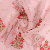 Pink Golden and Red Floral Embroidery Organza Silk Fabric-51701
