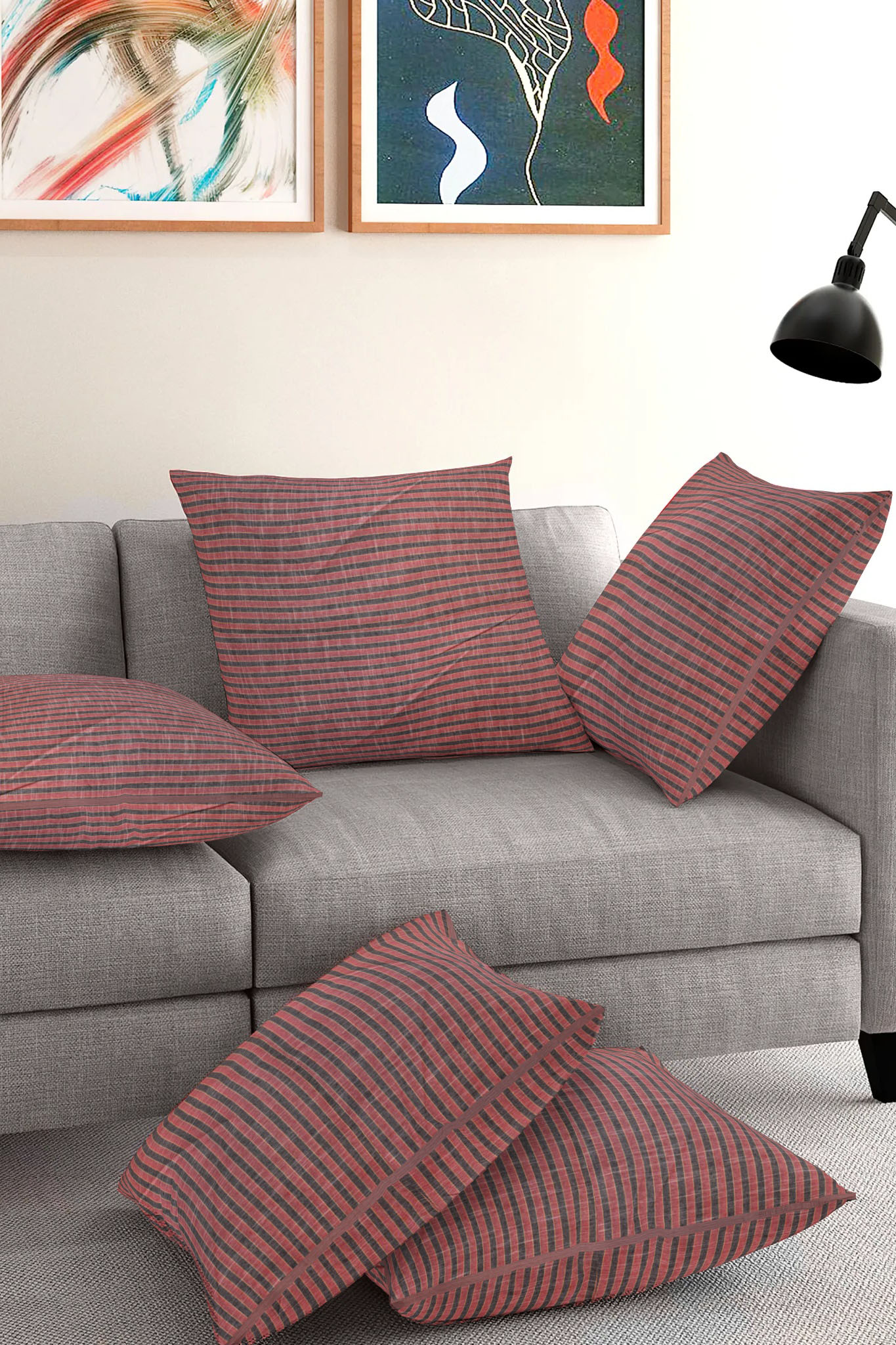 Set of 5-Pink Gray Cotton Cushion Cover-35395-16x16 Inches