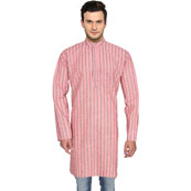 Pink Gray Stripes Handloom Khadi Long Kurta-33182