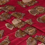 Pink-Gray and Cream Kuchipudi Kalamkari Manipuri Silk Fabric-16340