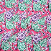 Pink Green Block Print Cotton Fabric-14734