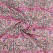Pink Green Block Print Cotton Fabric-14818