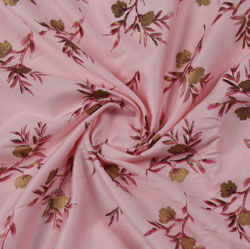 Pink Green Block Print Cotton Fabric-16211