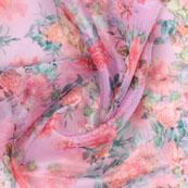 Pink Green Digital Organza Silk Fabric-51532