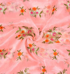 Pink Green Flower Organza Embroidery Fabric-22195