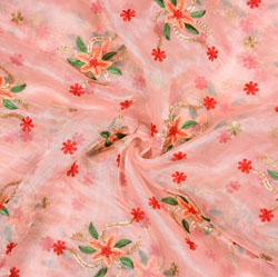 Pink Green Flower Organza Embroidery Fabric-22237