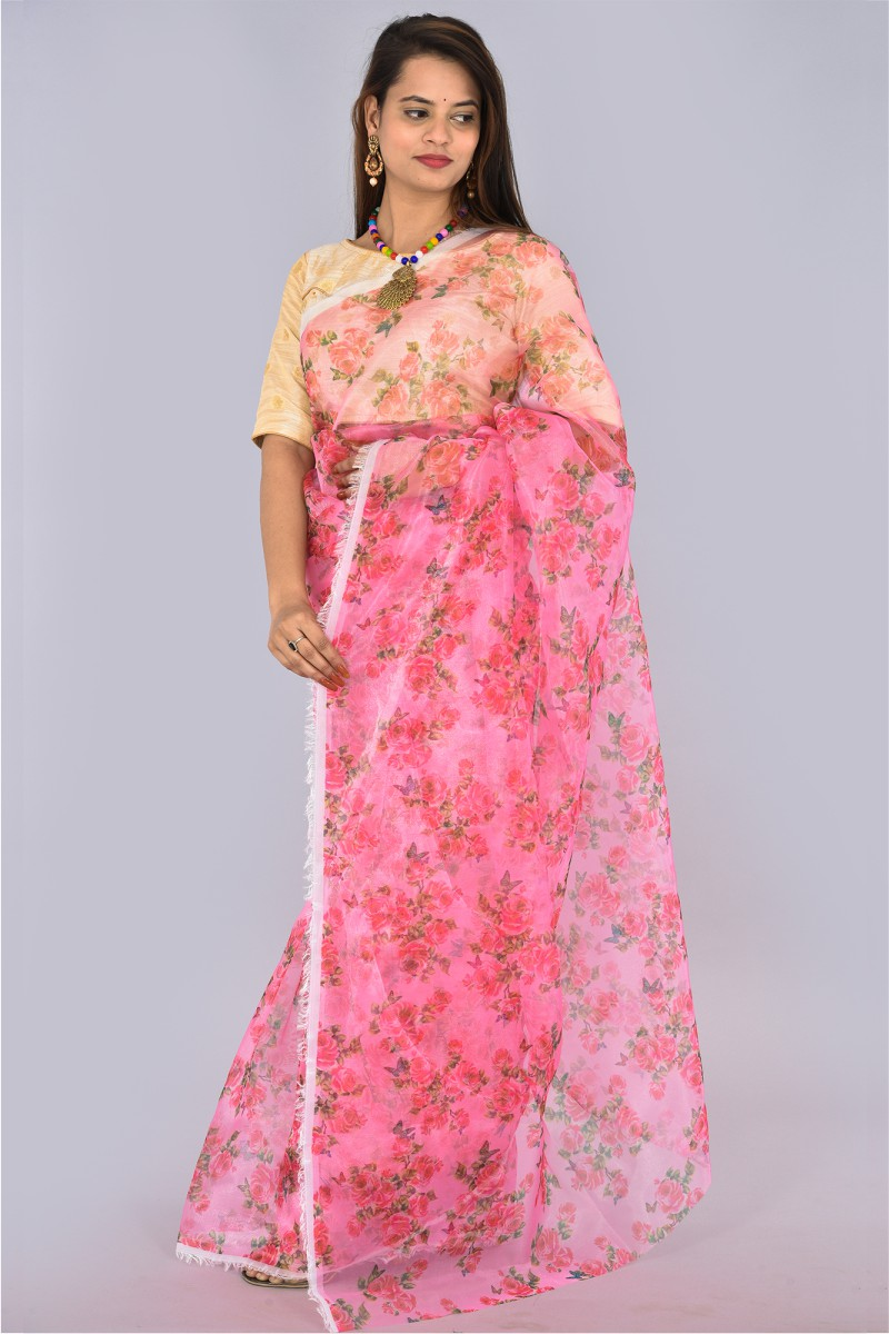 Pink Green Organza Digital Printed Saree-36190