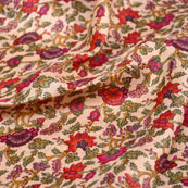 Pink-Green and Beige Flower Pattern Kalamkari Manipuri Silk Fabric 7557
