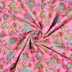 Pink Green and Red Floral Block Print Cotton Fabric-28447