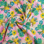 Pink-Green and Yellow Flower Banglori Silk Fabric-37001