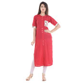 Pink Half Sleeve Pocket and Back Pattern Rayon Kurti-3070