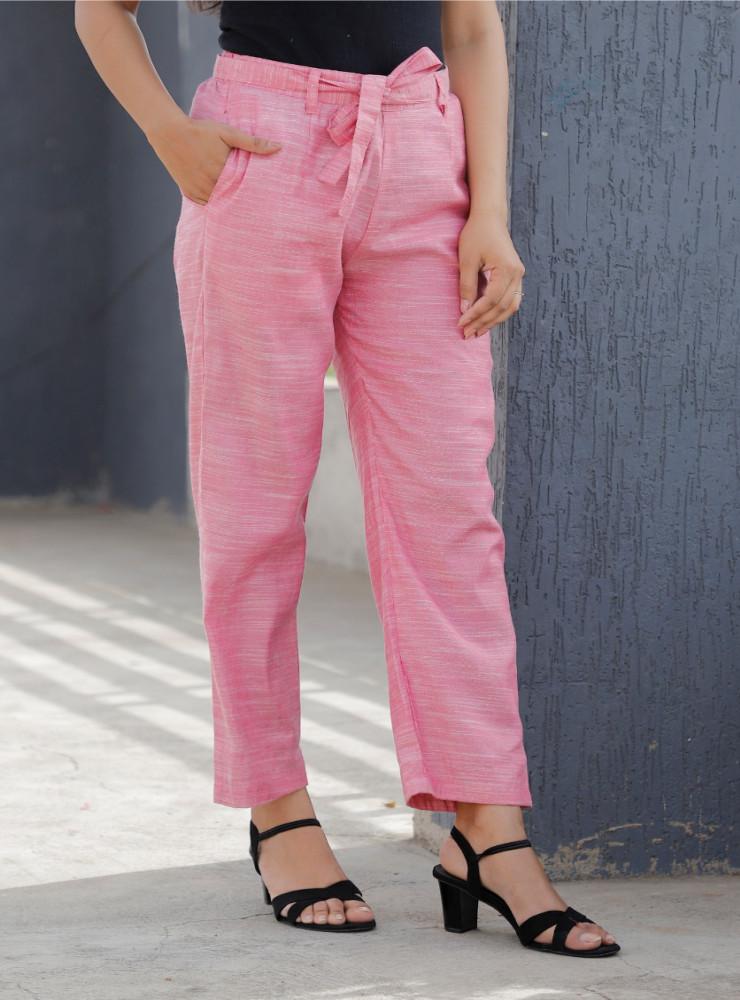 Pink Linen Slub Silk Women Pant with Loose Belt-33231