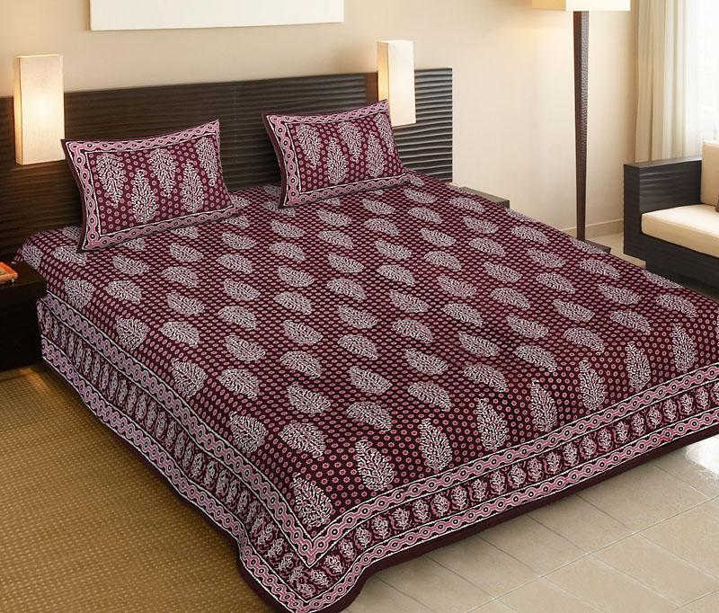Pink Maroon Cotton Jaipuri Bedsheet-524