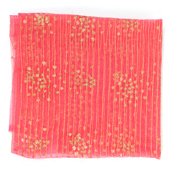 Pink Net Fabric With Golden Embroidery-60838