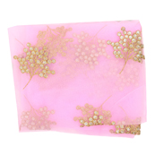 Pink Net Fabric With Golden Flower Embroidery-60819