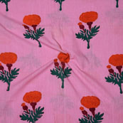 Pink Orange Block Print Cotton Fabric-14727