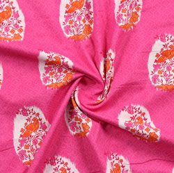Pink Orange Block Print Cotton Fabric-16011