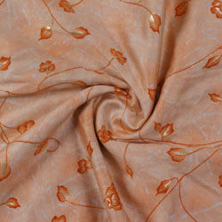 Pink Orange Block Print Cotton Fabric-16210