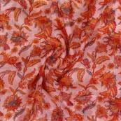 Pink Orange Digital Organza Silk Fabric-51663