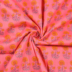 Pink Orange Floral Block Print Cotton Fabric-28406