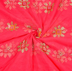 Pink Orange Floral Organza Embroidery Fabric-22203