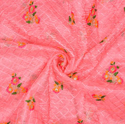 Pink Orange Flower Organza Embroidery Fabric-22232
