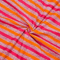 Pink Orange Leheriya Cotton Fabric-28086
