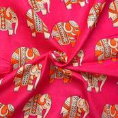 Pink-Orange and Cream Elephant Shape Kalamkari Manipuri Silk-16039