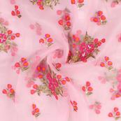 Pink-Orange and Golden Flower Pattern Embroidery  Silk Organza Fabric-50040