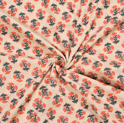 Pink Orange and Green Floral Cotton Fabric-28087