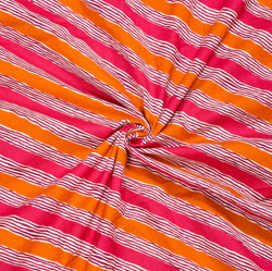 Pink Orange and White Leheriya Cotton Fabric-28096