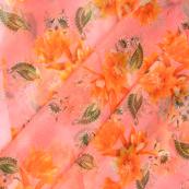 Pink-Orannge and Green Floral Design Silk Organza Fabric-50060